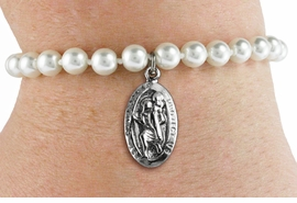 "<BR>                       CATHOLIC JEWELRY<Br>                     LEAD & NICKEL FREE!! <Br>W19431B - ""ST. CHRISTOPHER PROTECT US"" <BR> CHARM ON 6MM PEARL BEAD BRACELET <BR>            FROM $2.81 TO $6.25 �2012"