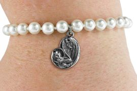 <BR>                       CATHOLIC JEWELRY<Br>                     LEAD & NICKEL FREE!! <Br>     W19432B - VIRGIN MARY AND CHILD <BR> CHARM ON 6MM PEARL BEAD BRACELET <BR>            FROM $2.81 TO $6.25 �2012