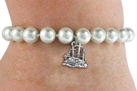 <BR>                       CATHOLIC JEWELRY<Br>                     LEAD & NICKEL FREE!! <Br>     W19434B - GOLGOTHA / CALVARY <BR> CHARM ON 8MM PEARL BEAD BRACELET <BR>            FROM $3.35 TO $7.50 �2012