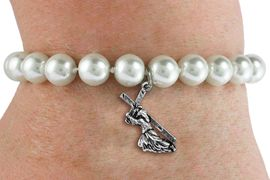 <BR>                       CATHOLIC JEWELRY<Br>                     LEAD & NICKEL FREE!! <Br>     W19438B - JESUS CARRYING CROSS <BR> CHARM ON 8MM PEARL BEAD BRACELET <BR>            FROM $3.35 TO $7.50 �2012
