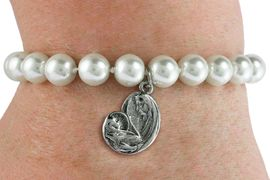 <BR>                       CATHOLIC JEWELRY<Br>                     LEAD & NICKEL FREE!! <Br>     W19441B - VIRGIN MARY AND CHILD <BR> CHARM ON 8MM PEARL BEAD BRACELET <BR>            FROM $3.35 TO $7.50 �2012