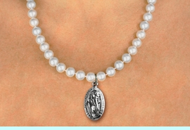 """<BR>                       CATHOLIC JEWELRY<Br>                     LEAD & NICKEL FREE!! <Br>W19458N - """"ST. CHRISTOPHER PROTECT US"""" <BR> CHARM ON 8MM PEARL BEAD NECKLACE <BR>            FROM $4.73 TO $10.50 �2012"""