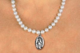 <BR>                       CATHOLIC JEWELRY<Br>                     LEAD & NICKEL FREE!! <Br>     W19460N - BLESSED VIRGIN MARY <BR> CHARM ON 8MM PEARL BEAD NECKLACE <BR>            FROM $4.73 TO $10.50 �2012