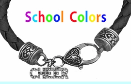 CHEERLEADER GENUINE BLACK LEATHER BRACELET WITH ANTIQUE <BR>CLASP WITH GENUINE CRYSTAL CHEER CHARM<BR>NICKEL, LEAD, AND POISONOUS CADMIUM FREE<BR>IT IS WHAT YOU DO NOT SEE THAT MATTERS�<BR>W1410B37  $13.38 EACH �2020