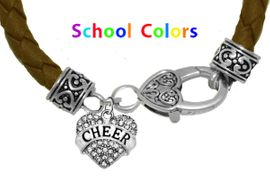 CHEERLEADER GENUINE BROWN LEATHER BRACELET WITH ANTIQUE <BR>CLASP WITH GENUINE CRYSTAL JUMPING CHEERLEADER<BR>NICKEL, LEAD, AND POISONOUS CADMIUM FREE<BR>IT IS WHAT YOU DO NOT SEE THAT MATTERS�<BR>W1408B45  $13.38 EACH �2020