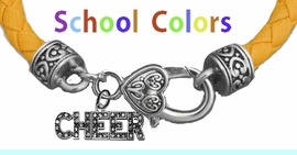 CHEERLEADER GENUINE GOLD LEATHER BRACELET WITH ANTIQUE <BR>CLASP WITH GENUINE CRYSTAL CHEER CHARM<BR>NICKEL, LEAD, AND POISONOUS CADMIUM FREE<BR>IT IS WHAT YOU DO NOT SEE THAT MATTERS�<BR>W1410B47  $13.38 EACH �2020