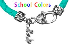CHEERLEADER GENUINE TURQUOISE LEATHER BRACELET WITH ANTIQUE <BR>CLASP WITH GENUINE CRYSTAL JUMPING CHEERLEADER<BR>NICKEL, LEAD, AND POISONOUS CADMIUM FREE<BR>IT IS WHAT YOU DO NOT SEE THAT MATTERS�<BR>W1409B51  $13.38 EACH �2020