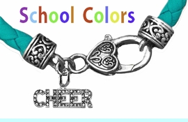 CHEERLEADER GENUINE TURQUOISE LEATHER BRACELET WITH ANTIQUE <BR>CLASP WITH GENUINE CRYSTAL JUMPING CHEERLEADER<BR>NICKEL, LEAD, AND POISONOUS CADMIUM FREE<BR>IT IS WHAT YOU DO NOT SEE THAT MATTERS�<BR>W1410B51 $13.38 EACH �2020