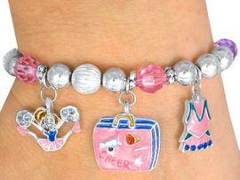 "<br>  CHILDREN'S SIZE AGES 3-12<BR>     LEAD FREE NICKEL FREE!!<BR> W22935B12 - 5 CHARM ""CHEER <br>     POWER"" STRETCH BRACELET<BR>  $9.38 EACH     �2005"