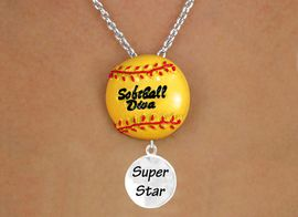 """<BR>CLICK HERE TO SEE 65+ EXCITING<BR>ADDITIONS THAT YOU CAN MAKE!<Br>             LEAD & NICKEL FREE!!<br>     W13187N - """"SOFTBALL DIVA""""<BR>      NECKLACE AS LOW AS $4.50"""