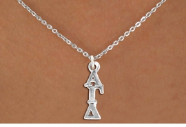 <BR>          CLICK ON PICTURE, SCROLL DOWN<BR>TO SELECT YOUR SORORITIES GREEK LETTERS<bR>      WHOLESALE FASHION SORORITY JEWELRY  <BR>                     EXCLUSIVELY OURS!!  <BR>                AN ALLAN ROBIN DESIGN!!  <BR>          LEAD, NICKEL & CADMIUM FREE!!  <BR>W21359N - OFFICIAL SILVER TONE CUSTOM  <BR>   GREEK LETTER SORORITY CHARM ON SMALL <Br>CHAIN NECKLACE FROM $5.90 TO $9.25 �2014