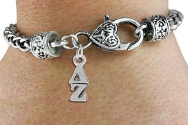 <BR>          CLICK ON PICTURE, SCROLL DOWN<BR>TO SELECT YOUR SORORITIES GREEK LETTERS<bR>      WHOLESALE FASHION SORORITY JEWELRY  <BR>                     EXCLUSIVELY OURS!!  <BR>                AN ALLAN ROBIN DESIGN!!  <BR>          LEAD, NICKEL & CADMIUM FREE!!  <BR>W21365B - OFFICIAL SILVER TONE CUSTOM  <BR>GREEK LETTER SORORITY CHARM ON CHAIN LOBSTER <Br>    BRACELET FROM $5.90 TO $9.25 �2014
