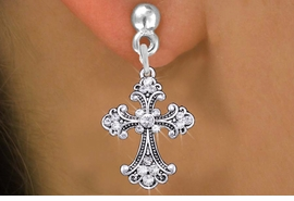 <br>                  CROSS EARRINGS<bR>              EXCLUSIVELY OURS!! <Br>         AN ALLAN ROBIN DESIGN!! <BR>   LEAD, NICKEL & CADMIUM FREE!! <BR>  W1437SE - SILVER TONE AND CLEAR <BR> CRYSTAL STYLISH CROSS CHARM EARRINGS <BR>      FROM $5.40 TO $10.45 �2013