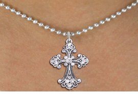 <br>                  CROSS NECKLACE<bR>                   EXCLUSIVELY OURS!! <Br>              AN ALLAN ROBIN DESIGN!! <BR>     CLICK HERE TO SEE 1000+ EXCITING <BR>           CHANGES THAT YOU CAN MAKE! <BR>        LEAD, NICKEL & CADMIUM FREE!! <BR> W1437SN - SILVER TONE WITH CLEAR CRYSTAL <BR>     STYLISH CROSS CHARM AND NECKLACE <BR>            FROM $5.40 TO $9.85 �2013