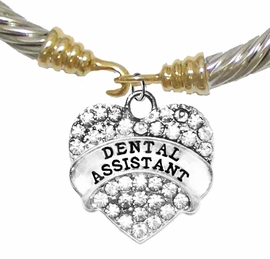 <BR>     W1770B24 - DENTAL ASSISTANT, GENUINE CRYSTAL HEART<br>        TWO-TONE CABLE BRACELET, SAFE-HYPOALLERGENIC, <BR>        NICKEL, LEAD, CADMIUM FREE,  $ 12.38  EACH �2016,