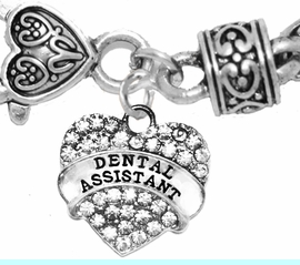 <BR>    W1770B1 - DENTAL ASSISTANT, GENUINE CRYSTAL HEART<br>        TWO-TONE CABLE BRACELET, SAFE-HYPOALLERGENIC, <BR>          NICKEL, LEAD, CADMIUM FREE,  $10.38 EACH �2016,