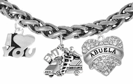 <BR>      EMT, I LOVE YOU ABUELA CHARM BRACELET<BR>                             AN ALLAN ROBIN DESIGN!! <Br>                         CADMIUM, LEAD & NICKEL FREE!!  <Br> W1530-380-1759B17 ON A WHEAT CHAIN BRACELET <BR>                              FROM $7.50 TO $9.50 �2016