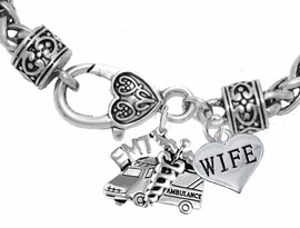 <BR>                          EMT, WIFE CHARM BRACELET<BR>                             AN ALLAN ROBIN DESIGN!! <Br>                         CADMIUM, LEAD & NICKEL FREE!!  <Br>             W1530-1876B1 ON A WHEAT CHAIN BRACELET <BR>                              FROM $7.50 TO $9.50 �2016