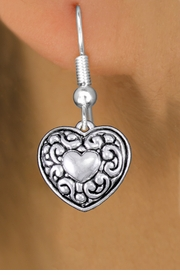 <bR>                 EXCLUSIVELY OURS!!<BR>           AN ALLAN ROBIN DESIGN!! <BR> CADMIUM, LEAD & NICKEL FREE!! <BR>W1320SE - ANTIQUED SILVER TONE <BR>SCRIPT HEART CHARM EARRINGS <BR>     FROM $4.50 TO $8.35 �2012