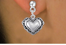 <bR>                 EXCLUSIVELY OURS!!<BR>           AN ALLAN ROBIN DESIGN!! <BR> CADMIUM, LEAD & NICKEL FREE!! <BR>W1321SE - ANTIQUED SILVER TONE <BR>SCRIPT HEART CHARM EARRINGS <BR>     FROM $4.50 TO $8.35 �2012