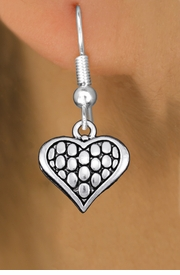 <bR>                 EXCLUSIVELY OURS!!<BR>           AN ALLAN ROBIN DESIGN!! <BR> CADMIUM, LEAD & NICKEL FREE!! <BR>W1322SE - ANTIQUED SILVER TONE <BR>SCRIPT HEART CHARM EARRINGS <BR>     FROM $4.50 TO $8.35 �2012