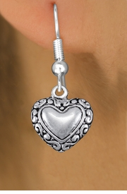 <bR>                 EXCLUSIVELY OURS!!<BR>           AN ALLAN ROBIN DESIGN!! <BR> CADMIUM, LEAD & NICKEL FREE!! <BR>W1323SE - ANTIQUED SILVER TONE <BR>SCRIPT HEART CHARM EARRINGS <BR>     FROM $4.50 TO $8.35 �2012