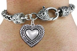 <bR>                 EXCLUSIVELY OURS!!<BR>           AN ALLAN ROBIN DESIGN!! <BR> CADMIUM, LEAD & NICKEL FREE!! <BR>W1326SB - ANTIQUED SILVER TONE <BR>SCRIPT HEART CHARM & HEART CLASP <BR>BRACELET FROM $3.94 TO $8.75 �2012