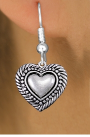 <bR>                 EXCLUSIVELY OURS!!<BR>           AN ALLAN ROBIN DESIGN!! <BR> CADMIUM, LEAD & NICKEL FREE!! <BR>W1326SE - ANTIQUED SILVER TONE <BR>SCRIPT HEART CHARM EARRINGS <BR>     FROM $4.50 TO $8.35 �2012