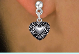 <bR>                 EXCLUSIVELY OURS!!<BR>           AN ALLAN ROBIN DESIGN!! <BR> CADMIUM, LEAD & NICKEL FREE!! <BR>W1327SE - ANTIQUED SILVER TONE <BR>SCRIPT HEART CHARM EARRINGS <BR>     FROM $4.50 TO $8.35 �2012