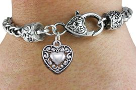 <bR>                 EXCLUSIVELY OURS!!<BR>           AN ALLAN ROBIN DESIGN!! <BR> CADMIUM, LEAD & NICKEL FREE!! <BR>W1328SB - ANTIQUED SILVER TONE <BR>SCRIPT HEART CHARM & HEART CLASP <BR>BRACELET FROM $3.94 TO $8.75 �2012