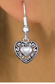 <bR>                 EXCLUSIVELY OURS!!<BR>           AN ALLAN ROBIN DESIGN!! <BR> CADMIUM, LEAD & NICKEL FREE!! <BR>W1328SE - ANTIQUED SILVER TONE <BR>SCRIPT HEART CHARM EARRINGS <BR>     FROM $4.50 TO $8.35 �2012