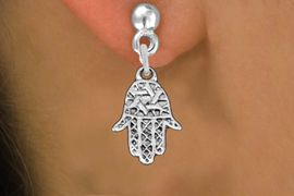 "<bR>                 EXCLUSIVELY OURS!!<BR>           AN ALLAN ROBIN DESIGN!! <BR> CADMIUM, LEAD & NICKEL FREE!! <BR>W1331SE - SMALL SILVER TONE HAMSA <BR>""GOOD LUCK"" CHARM EARRINGS <BR>     FROM $4.50 TO $8.35 �2012"