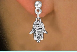 """<bR>                 EXCLUSIVELY OURS!!<BR>           AN ALLAN ROBIN DESIGN!! <BR> CADMIUM, LEAD & NICKEL FREE!! <BR>W1331SE - SMALL SILVER TONE HAMSA <BR>""""GOOD LUCK"""" CHARM EARRINGS <BR>     FROM $4.50 TO $8.35 �2012"""