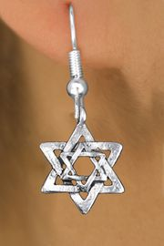 <bR>              EXCLUSIVELY OURS!!<BR>        AN ALLAN ROBIN DESIGN!! <BR> CADMIUM, LEAD & NICKEL FREE!! <BR>W1332SE - SILVER TONE DOUBLE <BR>STAR OF DAVID CHARM EARRINGS <BR>     FROM $4.50 TO $8.35 �2012