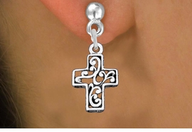 <bR>                 EXCLUSIVELY OURS!!<BR>           AN ALLAN ROBIN DESIGN!! <BR> CADMIUM, LEAD & NICKEL FREE!! <BR>W1335SE - ANTIQUED SILVER TONE <BR>SCRIPT CROSS CHARM EARRINGS <BR>     FROM $4.50 TO $8.35 �2012