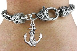 <bR>                 EXCLUSIVELY OURS!!<BR>           AN ALLAN ROBIN DESIGN!! <BR> CADMIUM, LEAD & NICKEL FREE!! <BR>W1337SB - ANTIQUED SILVER TONE <BR> BOAT ANCHOR CHARM & HEART CLASP <BR>BRACELET FROM $3.94 TO $8.75 �2012