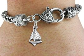 <bR>                 EXCLUSIVELY OURS!!<BR>           AN ALLAN ROBIN DESIGN!! <BR> CADMIUM, LEAD & NICKEL FREE!! <BR>W1338SB - ANTIQUED SILVER TONE <BR>  SAILBOAT CHARM & HEART CLASP <BR>BRACELET FROM $3.94 TO $8.75 �2012
