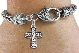 <bR>                 EXCLUSIVELY OURS!!<BR>           AN ALLAN ROBIN DESIGN!! <BR> CADMIUM, LEAD & NICKEL FREE!! <BR>W1340SB - ANTIQUED SILVER TONE <BR>SCRIPT CROSS CHARM & HEART CLASP <BR>BRACELET FROM $3.94 TO $8.75 �2012