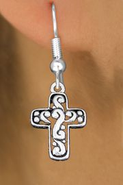 <bR>                 EXCLUSIVELY OURS!!<BR>           AN ALLAN ROBIN DESIGN!! <BR> CADMIUM, LEAD & NICKEL FREE!! <BR>W1340SE - ANTIQUED SILVER TONE <BR>SCRIPT CROSS CHARM EARRINGS <BR>     FROM $4.50 TO $8.35 �2012