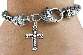 <bR>                 EXCLUSIVELY OURS!!<BR>           AN ALLAN ROBIN DESIGN!! <BR> CADMIUM, LEAD & NICKEL FREE!! <BR>W1341SB - ANTIQUED SILVER TONE <BR>SCRIPT CROSS CHARM & HEART CLASP <BR>BRACELET FROM $3.94 TO $8.75 �2012