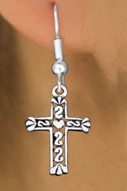 <bR>                 EXCLUSIVELY OURS!!<BR>           AN ALLAN ROBIN DESIGN!! <BR> CADMIUM, LEAD & NICKEL FREE!! <BR>W1341SE - ANTIQUED SILVER TONE <BR>SCRIPT CROSS CHARM EARRINGS <BR>     FROM $4.50 TO $8.35 �2012