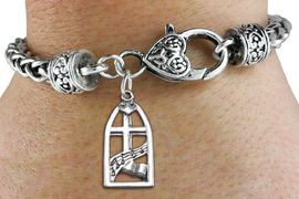 """<bR>                 EXCLUSIVELY OURS!!<BR>           AN ALLAN ROBIN DESIGN!! <BR> CADMIUM, LEAD & NICKEL FREE!! <BR>W1364SB - ANTIQUED SILVER TONE <BR>  """"SING JOYFULLY UNTO THE LORD"""" <BR>       RELIGIOUS CHARM & HEART CLASP <BR>BRACELET FROM $3.94 TO $8.75 �2012"""