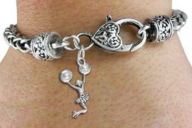 <bR>                  EXCLUSIVELY OURS!!<BR>            AN ALLAN ROBIN DESIGN!! <BR>      CADMIUM, LEAD & NICKEL FREE!! <BR>  W1399SB - SPIRIT POM POMS JUMPING <BR> CHEERLEADER CHARM & HEART CLASP <BR> BRACELET FROM $3.94 TO $8.75 �2013