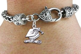 <bR>                      EXCLUSIVELY OURS!!<BR>                AN ALLAN ROBIN DESIGN!! <BR>          CADMIUM, LEAD & NICKEL FREE!! <BR>   W1431SB - SILVER TONE GRADUATION CAP <BR>        AND DIPLOMA CHARM & HEART CLASP <BR>      BRACELET FROM $3.94 TO $8.75 �2013