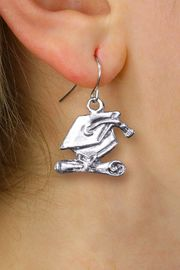 <bR>                  EXCLUSIVELY OURS!! <BR>             AN ALLAN ROBIN DESIGN!! <BR>       CADMIUM, LEAD & NICKEL FREE!! <BR>    W1431SE - SILVER TONE GRADUATION <BR>      CAP AND DIPLOMA CHARM EARRINGS <BR>           FROM $4.50 TO $8.35 �2013