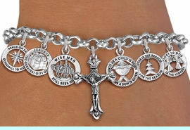 <Br>              EXCLUSIVELY OURS!! <Br>        AN ALLAN ROBIN DESIGN!! <Br>CADMIUM, LEAD & NICKEL FREE!! <Br>W19761B - SILVER TONE CHRISTMAS <BR>THEMED SEVEN CHARM BRACELET WITH <BR>CRUCIFIX / JESUS ON CROSS CHARM <BR>       FROM $7.65 TO $17.00 �2012