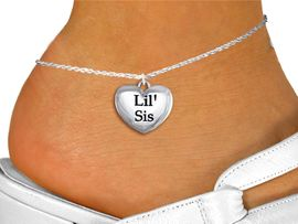 "<bR>                 EXCLUSIVELY OURS!!<BR>           AN ALLAN ROBIN DESIGN!!<BR>  CLICK HERE TO SEE 1000+ EXCITING<BR>     CHANGES THAT YOU CAN MAKE!<BR> CADMIUM, LEAD & NICKEL FREE!! <BR>W1295SAK - POLISHED SILVER TONE <BR> ""LIL' SIS""  HEART CHARM  & ANKLET <BR>         FROM $3.35 TO $8.00 �2012"