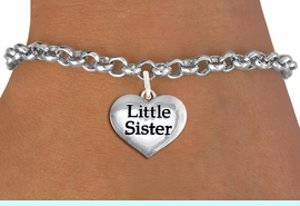 """<bR>                     EXCLUSIVELY OURS!!<BR>               AN ALLAN ROBIN DESIGN!!<BR>      CLICK HERE TO SEE 1000+ EXCITING<BR>         CHANGES THAT YOU CAN MAKE!<BR>        CADMIUM,  LEAD & NICKEL FREE!! <BR>W1296SB - POLISHED SILVER TONE <BR>""""LITTLE SISTER"""" HEART CHARM BRACELET <BR>           FROM $4.15 TO $8.00 �2012"""