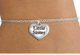 """<bR>                     EXCLUSIVELY OURS!!<BR>               AN ALLAN ROBIN DESIGN!!<BR>      CLICK HERE TO SEE 1000+ EXCITING<BR>         CHANGES THAT YOU CAN MAKE!<BR>        CADMIUM,  LEAD & NICKEL FREE!! <BR>W1296SB - POLISHED SILVER TONE <BR>""""LITTLE SISTER"""" HEART CHILD'S BRACELET <BR>           FROM $4.15 TO $8.00 �2012"""