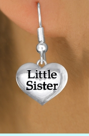 """<bR>               EXCLUSIVELY OURS!!<BR>         AN ALLAN ROBIN DESIGN!!<BR>CLICK HERE TO SEE 1000+ EXCITING<BR>   CHANGES THAT YOU CAN MAKE!<BR>      CADMIUM,  LEAD & NICKEL FREE!! <BR>W1296SE -  POLISHED SILVER TONE <BR>""""LITTLE SISTER"""" HEART CHARM EARRINGS  <BR>      FROM $4.50 TO $8.35 �2012"""